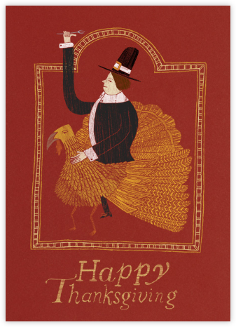 Pilgrim on a Turkey Greeting - Paperless Post - Thanksgiving Cards