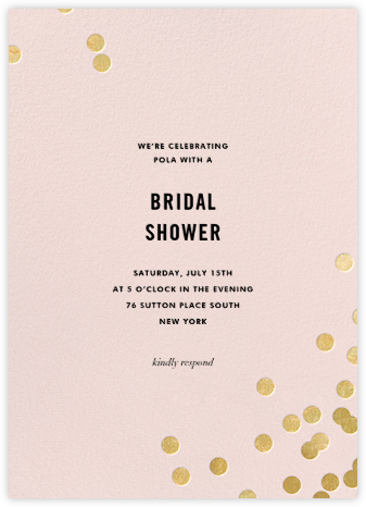 Confetti (Tall) - Blush/Gold - kate spade new york - Kate Spade invitations, save the dates, and cards