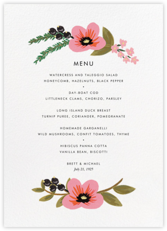 March Herbarium (Menu) - Rifle Paper Co. - Rifle Paper Co. Wedding