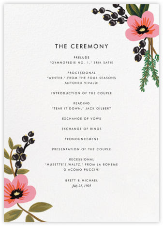 March Herbarium (Program) - Rifle Paper Co. - Wedding menus and programs - available in paper