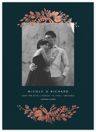 Floral Silhouette (Portrait Photo) - Midnight Green/Rose Gold - Rifle Paper Co. - Save the dates
