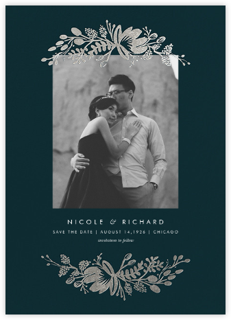 Floral Silhouette (Portrait Photo) - Midnight Green/Silver - Rifle Paper Co. -