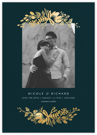Floral Silhouette (Portrait Photo) - Midnight Green/Gold - Rifle Paper Co. - Save the dates