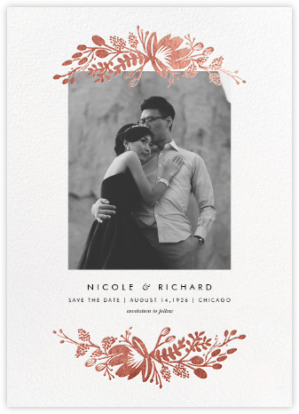 Floral Silhouette (Portrait Photo) - White/Rose Gold - Rifle Paper Co. - Photo save the dates