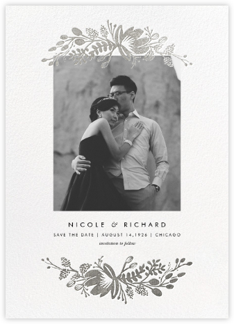 Floral Silhouette (Portrait Photo) - White/Silver - Rifle Paper Co. - Save the dates