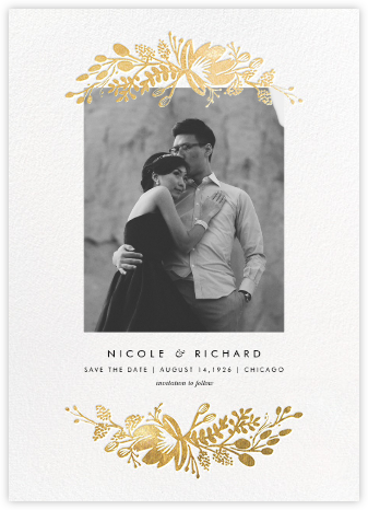 Floral Silhouette (Portrait Photo) - White/Gold - Rifle Paper Co. - Photo save the dates