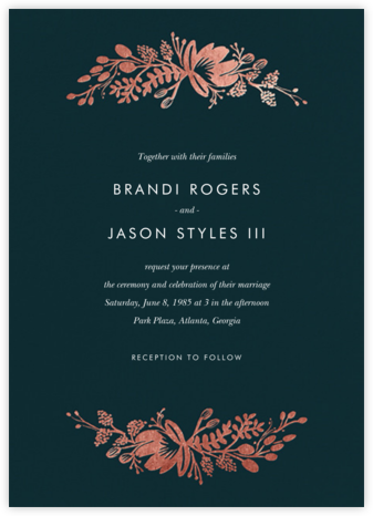 Floral Silhouette (Invitation) - Midnight Green/Rose Gold - Rifle Paper Co. - Wedding Invitations