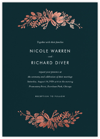 Floral Silhouette (Invitation) - Midnight Green/Rose Gold - Rifle Paper Co. - Rifle Paper Co. Wedding