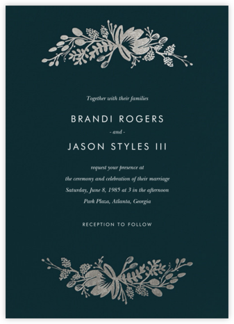 Floral Silhouette (Invitation) - Midnight Green/Silver | null