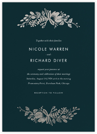 Floral Silhouette (Invitation) - Midnight Green/Silver - Rifle Paper Co. - Rifle Paper Co. Wedding