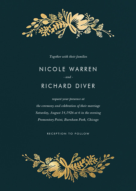 Floral Silhouette (Invitation) - Midnight Green/Gold - Rifle Paper Co. - Wedding invitations