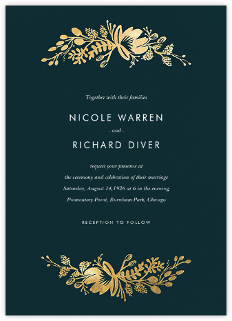 Floral Silhouette (Invitation) - Midnight Green/Gold | null