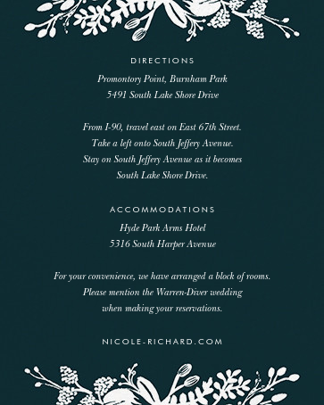 Floral Silhouette (Invitation) - Midnight Green/Gold - Rifle Paper Co. - All - insert front