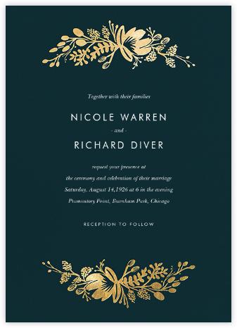 Floral Silhouette (Invitation) - Midnight Green/Gold CLONE - Rifle Paper Co. - Wedding Invitations