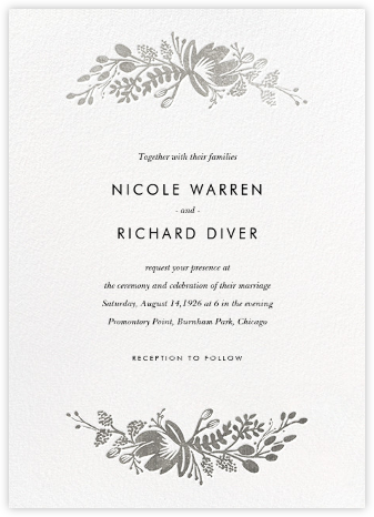 Floral Silhouette (Invitation) - White/Silver - Rifle Paper Co. - Rifle Paper Co.