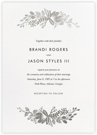 Floral Silhouette (Invitation) - White/Silver - Rifle Paper Co. - Wedding Invitations