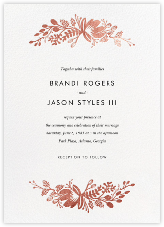 Floral Silhouette (Invitation) - White/Rose Gold | null