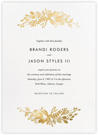 Floral Silhouette (Invitation) - White/Gold - Rifle Paper Co. -