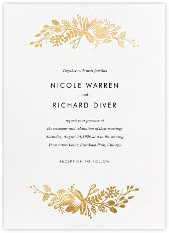Floral Silhouette (Invitation) - White/Gold - Rifle Paper Co. - Printable Invitations