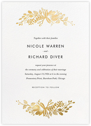 Floral Silhouette (Invitation) - White/Gold
