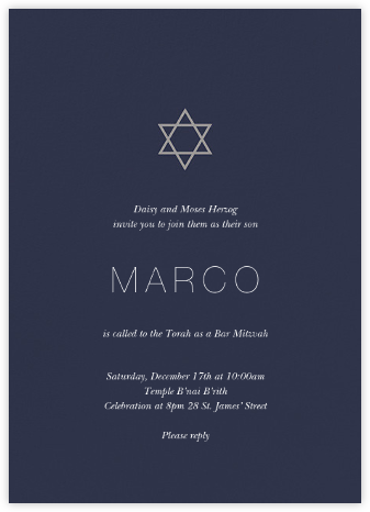 Guiding Star - Navy/Chinchilla - Paperless Post - Bar and Bat Mitzvah Invitations