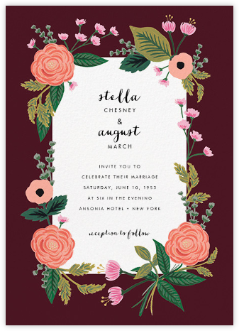 September Herbarium (Invitation) - Merlot - Rifle Paper Co. -