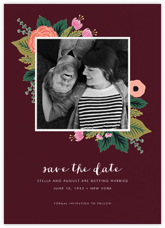 September Herbarium (Photo Save the Date) - Merlot - Rifle Paper Co. - Save the dates