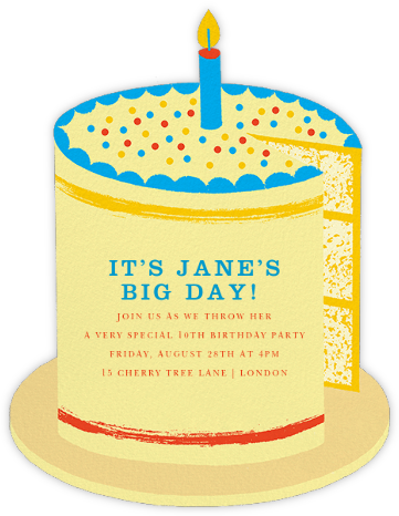 Birthday Cake - Paperless Post - Online Kids' Birthday Invitations