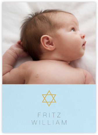 Guiding Star (Photo) - Blue/Millet - Paperless Post - Birth Announcements