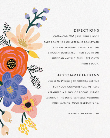 Vivid Florals (Invitation) - Rifle Paper Co. - Printable invitations - insert front