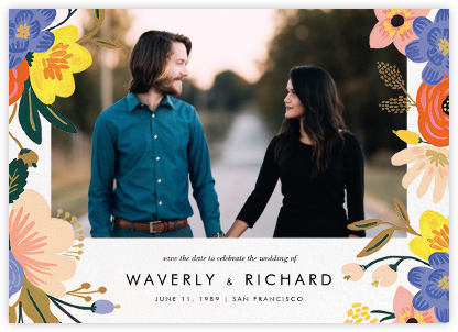 Vivid Florals (Photo Save the Date) - Rifle Paper Co. - Save the date cards and templates