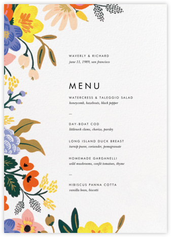 Vivid Florals (Menu) - Rifle Paper Co. - Wedding menus and programs - available in paper