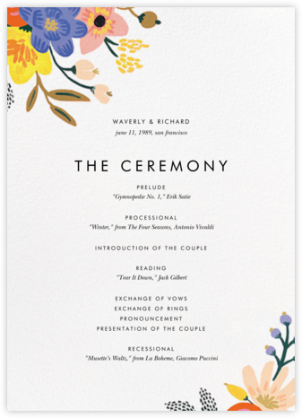 Vivid Florals (Program) - Rifle Paper Co. - Wedding menus and programs - available in paper