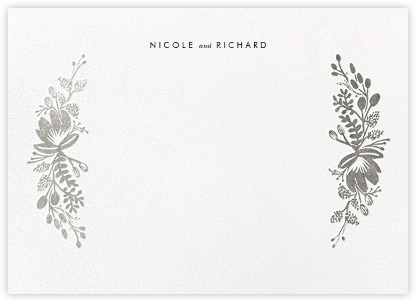 Floral Silhouette (Stationery) - Silver - Rifle Paper Co. - Personalized Stationery