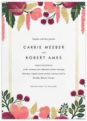 Raspberry Floral (Invitation) - Gold