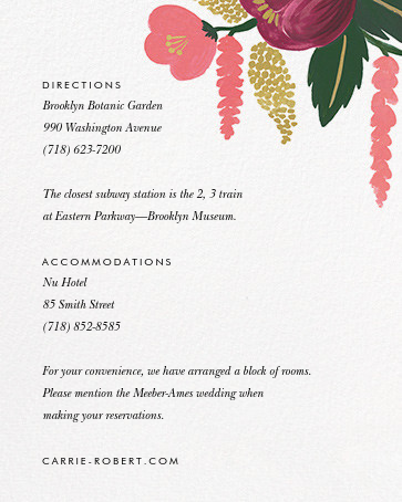 Raspberry Floral (Invitation) - Gold - Rifle Paper Co. - All - insert front