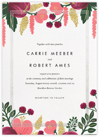 Raspberry Floral (Invitation) - Silver - Rifle Paper Co. - Wedding Invitations