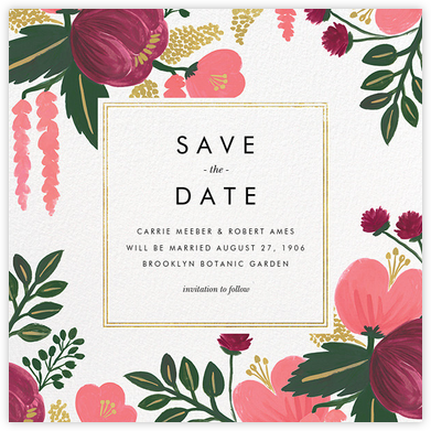 Raspberry Floral (Save the Date) - Gold | square