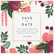 Raspberry Floral (Save the Date) - Gold