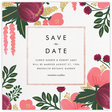 Raspberry Floral (Save the Date) - Rose Gold - Rifle Paper Co. - Rifle Paper Co. Wedding