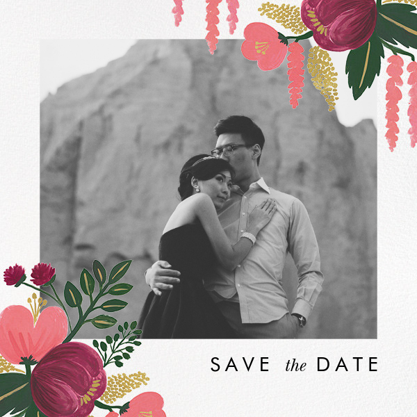 Raspberry Floral (Photo Save the Date) - Rifle Paper Co. - Rifle Paper Co. Wedding