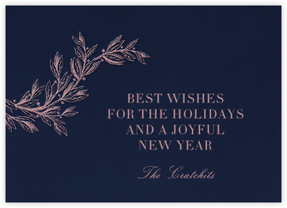 Winter Sprig - Navy - Paperless Post - Holiday Cards