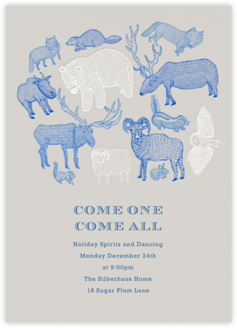 Come One Come All - Greige - Paperless Post - Winter Party Invitations