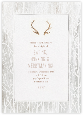 Antlers on the Mantle - Paperless Post - Holiday invitations