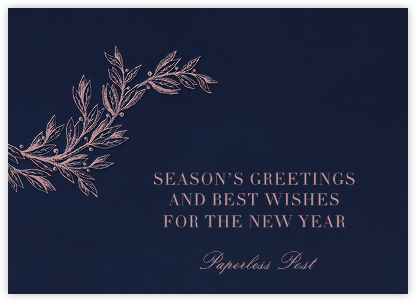 Winter Sprig - Navy - Paperless Post - Company holiday cards