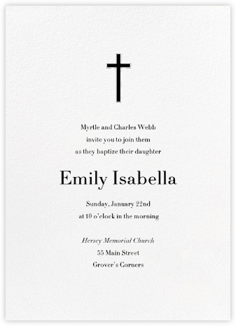 Blanc (Tall) - Paperless Post - Christening Invitations
