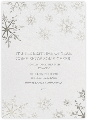 Vintage Flakes - Silver - Paperless Post - Winter Party Invitations