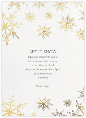 Vintage Flakes - Gold - Paperless Post - Winter entertaining invitations