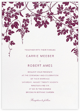 Vineyard II (Invitation) - Merlot - Paperless Post - Wedding Invitations