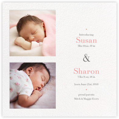 Twin Squares - Twins - Paperless Post - Birth Announcements